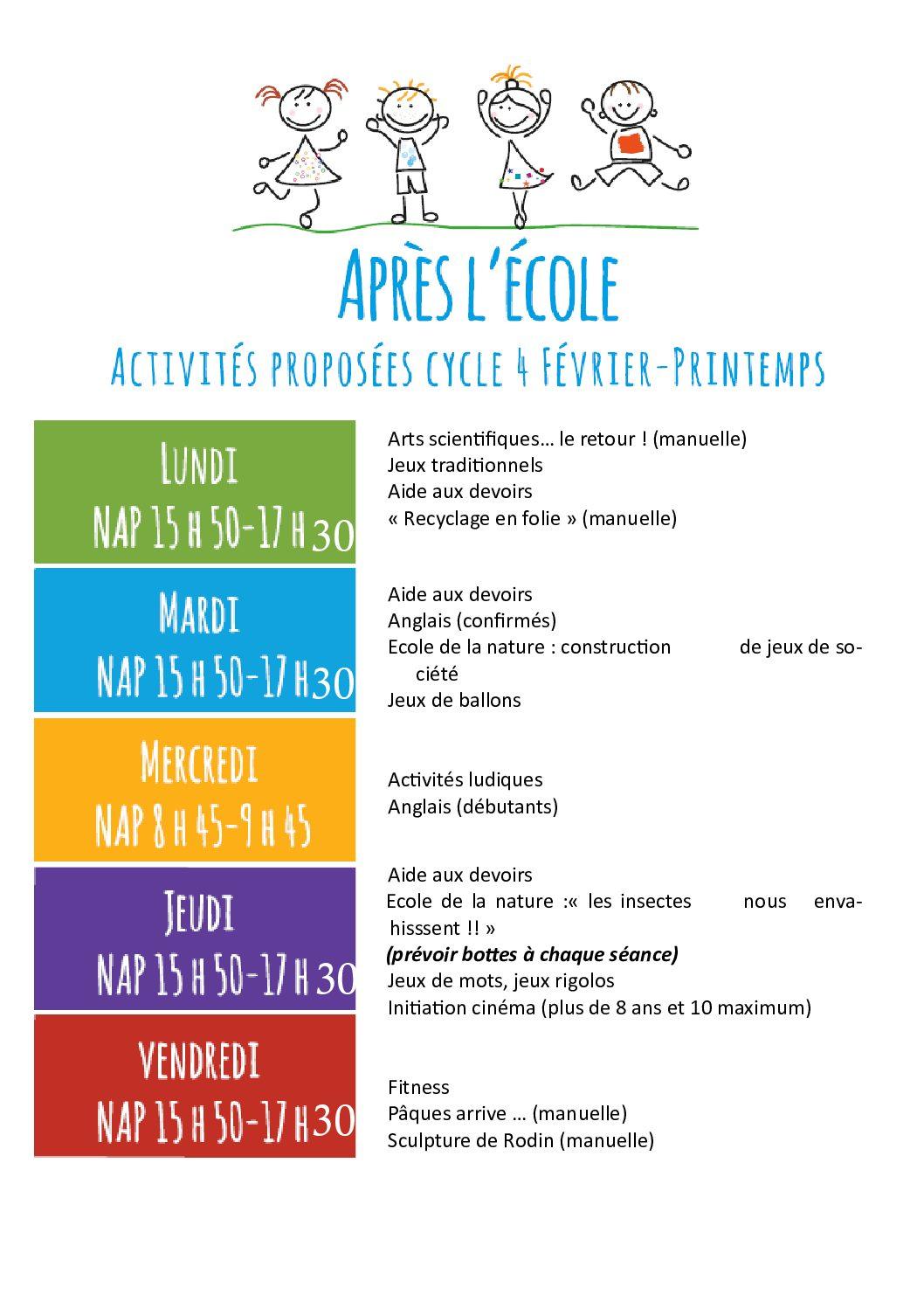 Programme NAP 4ème cycle